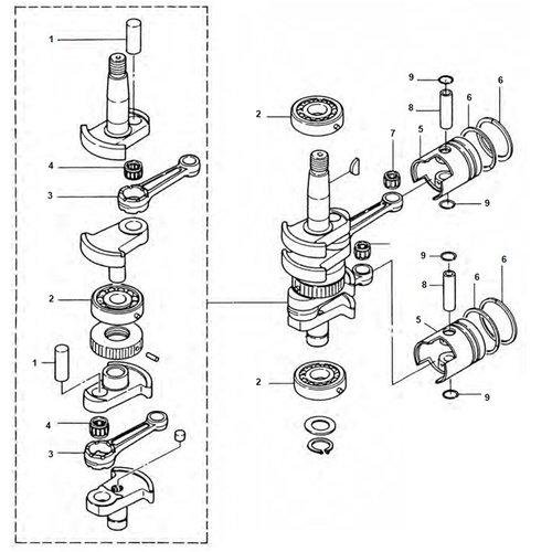 Mercury / Mariner / Tohatsu 9.9 / 15 / 18 pk 2-takt krukas onderdelen