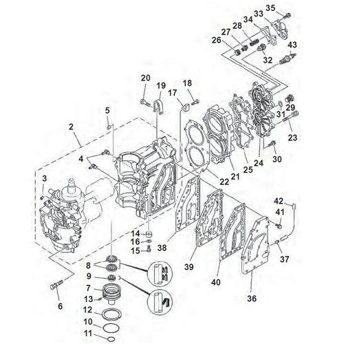 Mariner (Yamaha Model) 40 HP 2-stroke 2 Cyl Block Parts