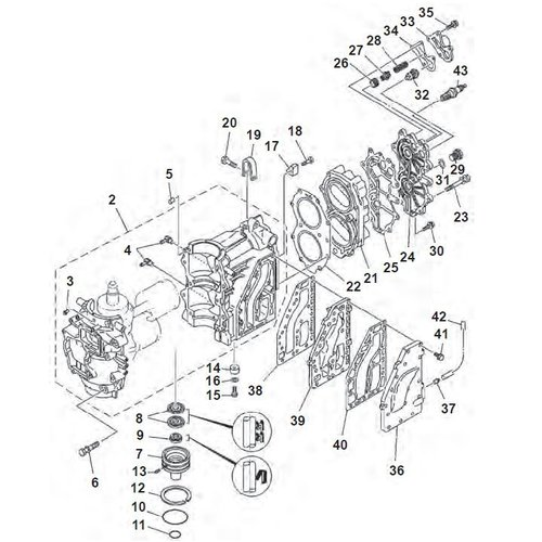 Mariner (Yamaha model) 40 pk 2-takt 2cil  blok onderdelen