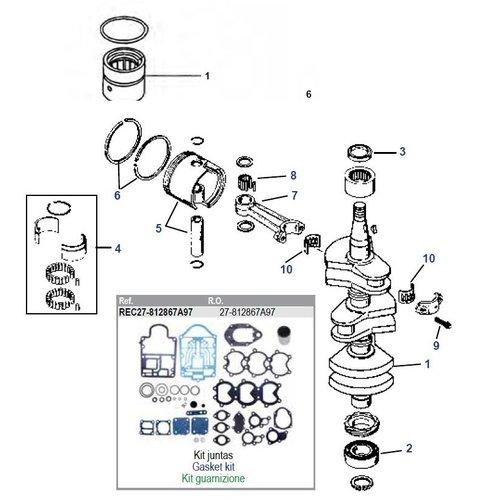 Mercury 40 / 45 / 50 / 55 / 60 HP 2-stroke 3 Cyl + 50 / 60 JET Crankshaft Parts