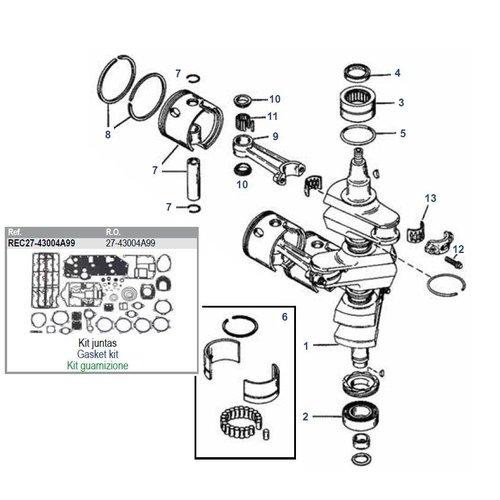 Mercury 75 t/m 90 pk 3cil + 65 JET krukas onderdelen