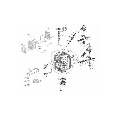 Tohatsu/Mercury 8 / 9,9 pk 4T Cylinder Head Cilinderkop onderdelen
