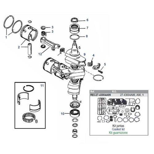 Mercury 70 / 75 / 80 / 90 HP 2-stroke 3 Cyl #9506481 to #9793576 + 65 JET Crankshaft Parts
