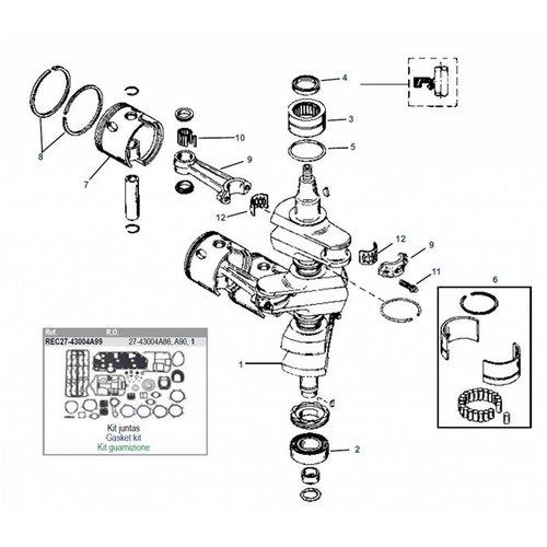 Mercury 70 / 75 / 80 / 90 pk 2-takt 3cil (# 9793577+ daar boven) + 65JET krukas onderdelen