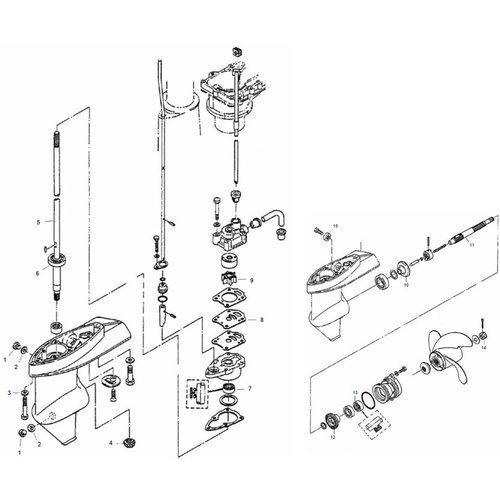 Mercury / Mariner / Tohatsu 4 / 5 HP 2-stroke + 4 / 5 / 6 HP 1 Cyl 4-stroke Gearcase Assy Parts
