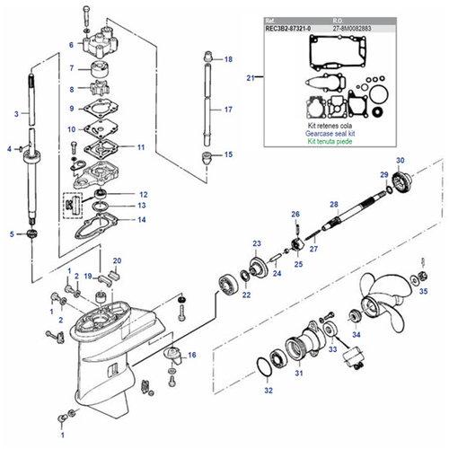Mercury / Mariner / Tohatsu / Parsun 6 / 8 / 9.8 / 9.9 HP 4-stroke (209cc) + 2-stroke 2 Cyl (inter) Gearcase Assy Parts