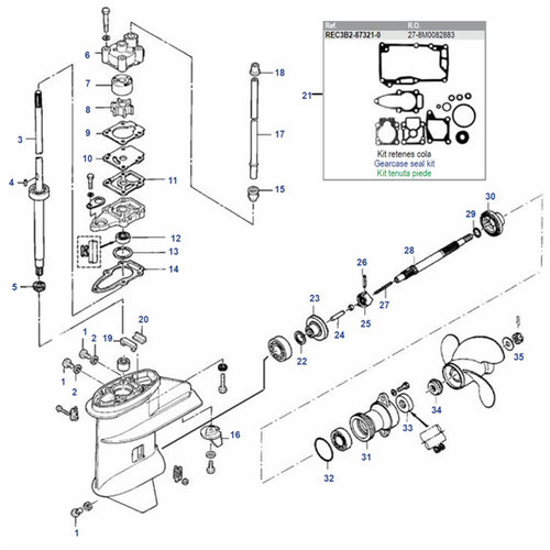 Mercury / Mariner / Tohatsu / Parsun 6 / 8 / 9.8 / 9.9 pk 4-takt (209cc) + 2-takt 2cil (inter) staart