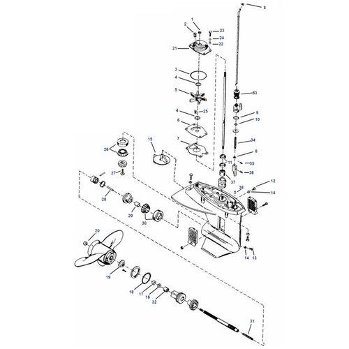 Mercury 8 / 9.9 / 13,5 / 15 pk 4-takt 232cc (inter) + 18XD / 20 / 25 pk 2-takt staartstuk parts