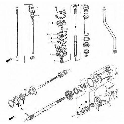 Honda BF75 / BF90 HP Gearcase Assy Parts