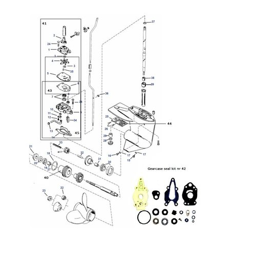 Mercury / Mariner 6 / 8 / 9.9 / 10 / 15 HP 2-stroke + 9.9 / 15 HP 4-stroke (232cc) Gearcase Assy Parts