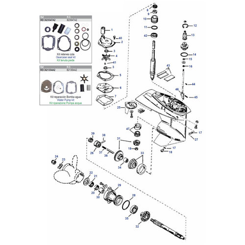 Mercury / Mariner 25 / 30 / 40 / 45 / 50 HP 4-stroke Carb/EFI +25 to 50 HP 2-stroke ('97-'06) Gearcase Assy Parts
