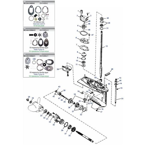 Mercury / Mariner 50 / 55 / 60 HP 3 Cyl 2-stroke + 40 / 50 / 60 HP 4-stroke 4 Cyl EFI + 40 HP 4-stroke Carb 3 Cyl Gearcase Assy Parts