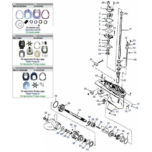 """Mercury / Mariner 30 to 125 HP 2-stroke (3 / 4 Cyl inline) + 50 to 150 HP 4-stroke (4.25""""/107.95mm) Gearcase Assy Parts"""