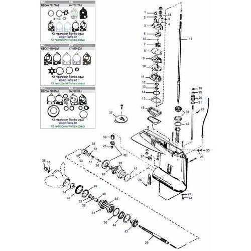 Mercury / Mariner 30 t/m 70 pk 2-takt (2 / 3 / 4 cilinder) staartstuk onderdelen