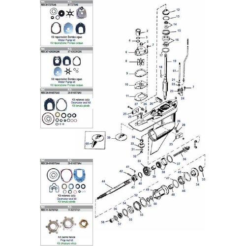 Mercury / Mariner 3.0 Liter motoren 225 pk 2-takt (carb) + 225 / 250 pk 2-takt EFI staartstuk onderdelen