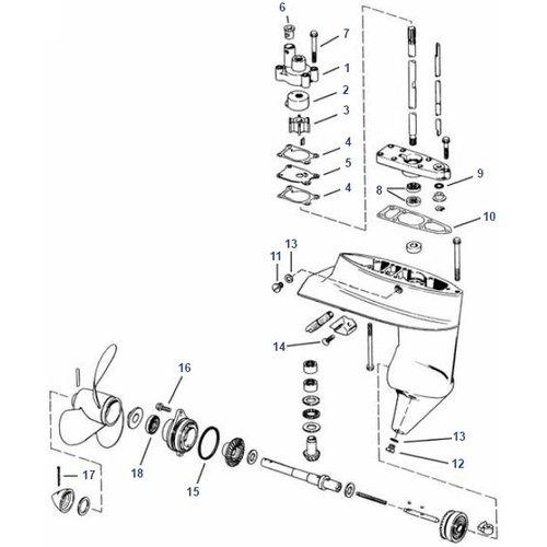 Johnson Evinrude 4, 4.5, 5, 6, 7.5, 8 HP (1980+) Staartstuk onderdelen