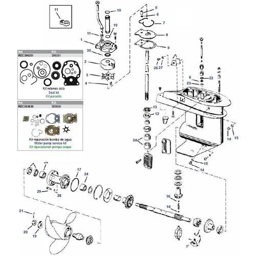 Johnson/Evinrude 20-35 pk 2cil uitlaat staart/prop + crossflow +20/30/35 pk 3cil 96-01