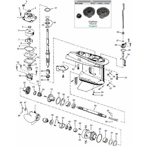 Johnson/Evinrude 40-50 pk 2cil small gearcase staartstuk onderdelen 89-05