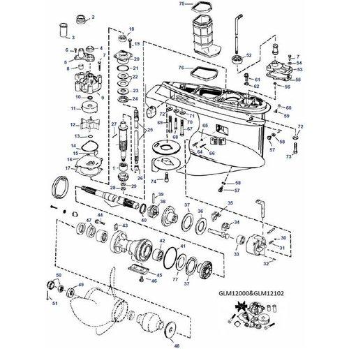 Johnson en Evinrude V4 en V6 Staartstuk Onderdelen 02-06