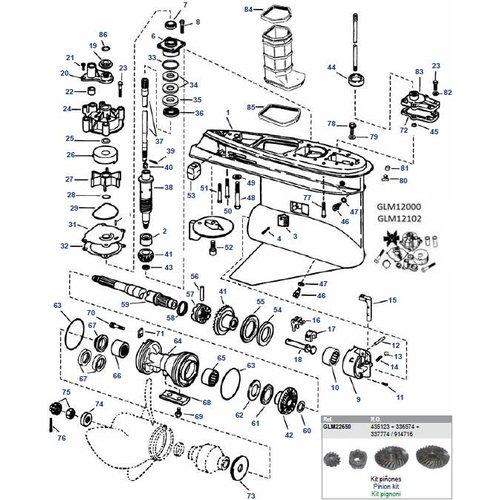 Johnson en Evinrude  V4 en V6 Staartstuk Onderdelen  79-06