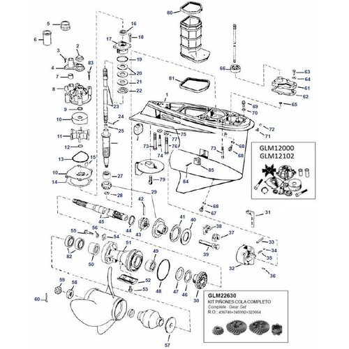 Johnson Evinrude V4 60 pk Staartstuk Onderdelen  95-06