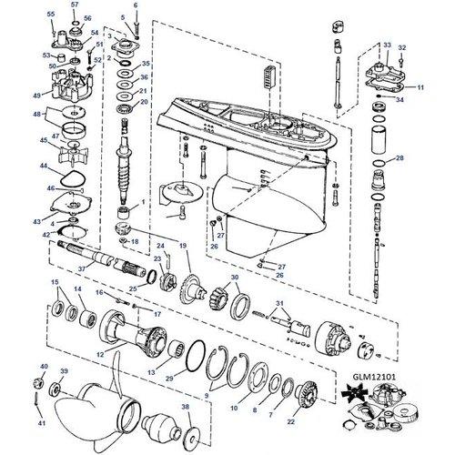 Johnson en Evinrude V6 Staartstuk onderdelen met hydraulic shift 76-78