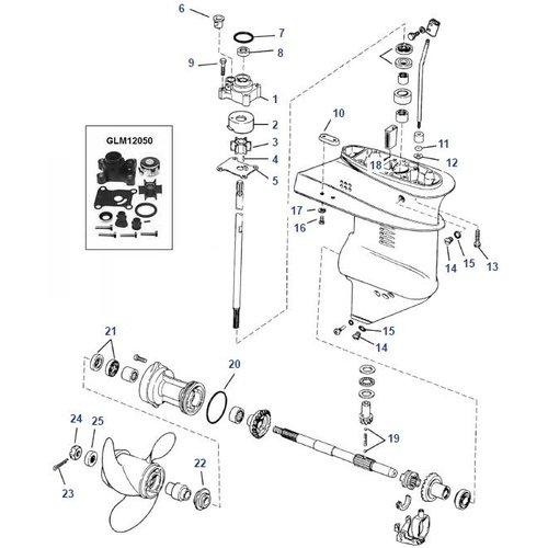 Johnson Evinrude 9.9-15 HP (1974+) Staartstuk onderdelen