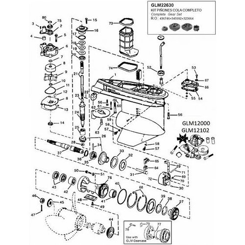 Johnson Evinrude V4 90 pk Staartstuk onderdelen 78-98
