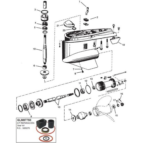 OMC 1994-1998 Cobra Lower Gearcase Components