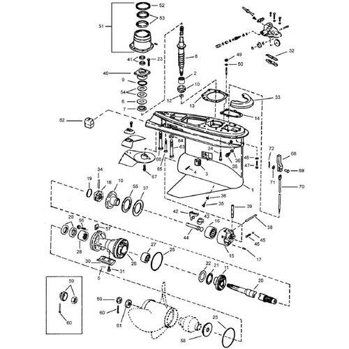 OMC 400-800 (1978-1985) Lower gear housing-Stringer mount