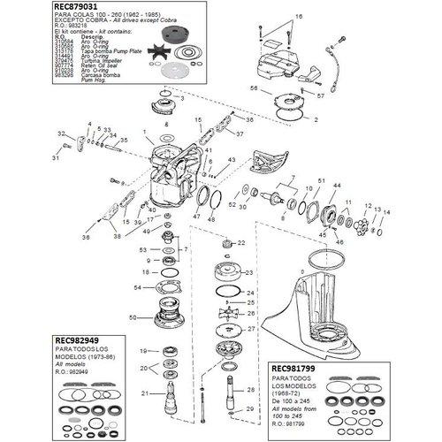 OMC 400-800 (1973-1985) Upper gear housing-Stringer mount