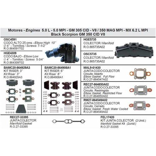 MerCruiser Manifolds, Elbows, Risers, End Caps & Gaskets 5.0 L - 5.0 MPI - GM 305 CID - V8 / 350 MAG MPI - MX 6.2 L MPI Black Scorpion GM 350 CID V8