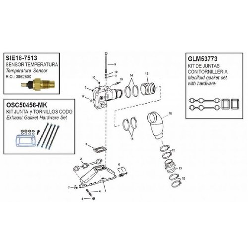 OMC Manifolds, elbows, end caps & gaskets model 4.3 GM 262 CID V6 (since 1991)