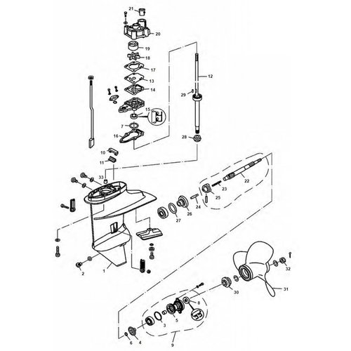 Mercury 8 / 9.9 HP 4-stroke & Tohatsu 6 / 8 / 9.8 HP Gearcase Assy Parts