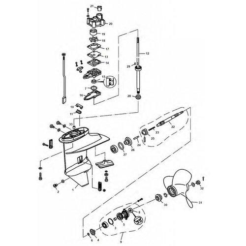 Mercury 8/9.9 pk 4-takt en Tohatsu 6/8/9.8 pk staartstuk onderdelen