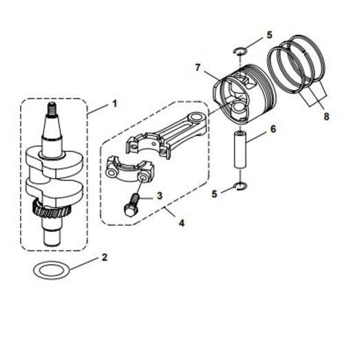 Parsun Buitenboordmotor F6A (F5A) B Crankshaft & Piston onderdelen
