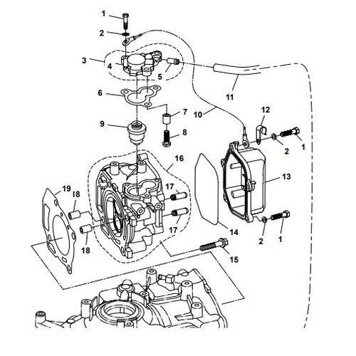 Parsun Buitenboordmotor F6A (F5A) B Cylinder Head onderdelen