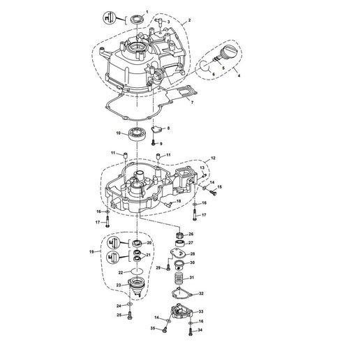 Parsun Buitenboordmotor F6A (F5A) B Crankcase onderdelen