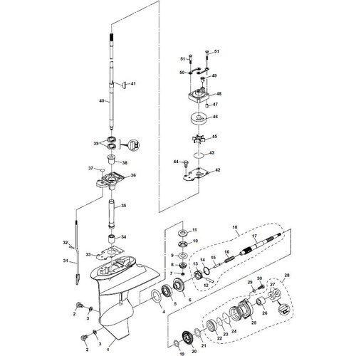 Parsun Buitenboordmotor F20A (F15A) BM (FW) Lower Casing & Drive 1 onderdelen