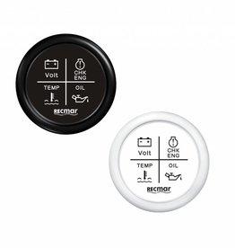 RecMar Combination gauge black/white 12/24 volt