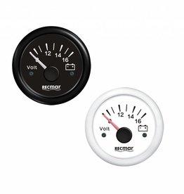 RecMar Voltmeter black/white 8-16V