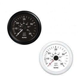 RecMar Speedometer black/white 0-35 mph