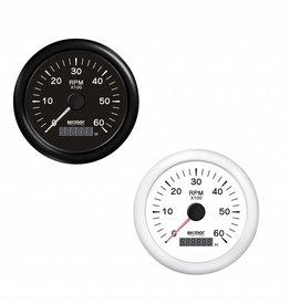 RecMar Tachometer black/white 0/6000 RPM