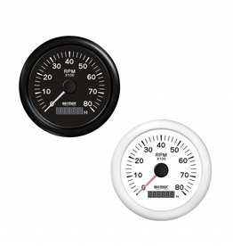 RecMar Tachometer black/white 0/8000 RPM
