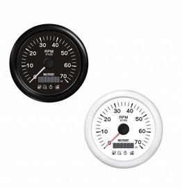 RecMar Tachometer black/white 0/7000 RPM with 4 alarm