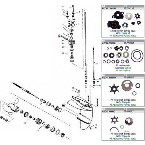 Mercury 3.9 / 4 / 4.5 / 5 / 6 / 7.5 / 9.8 pk (type 39 / 40 / 45 / 60 / 75 / 98 / 110) staartstuk onderdelen