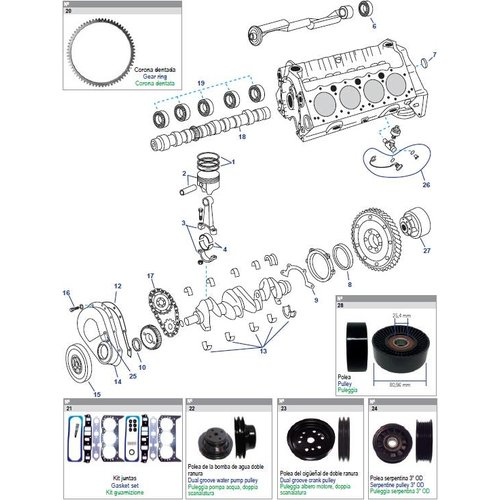 GM motorblok Block Engine parts 262 CID, V6, 4,3L