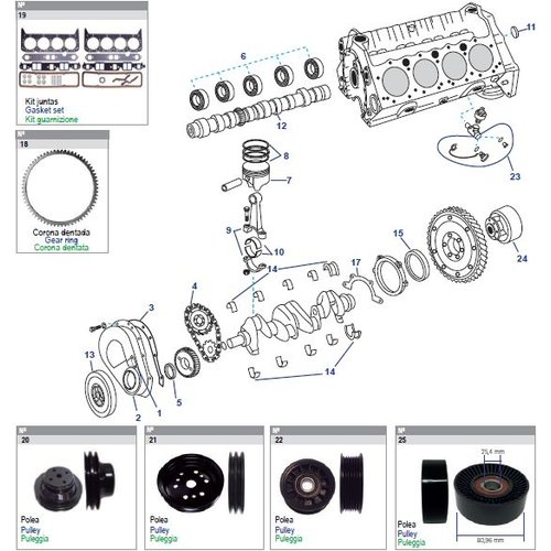 General Motors Cilinder motorblok Block Engine V8, 5.0 & 5.7L Small Block onderdelen
