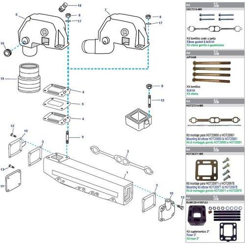 Mercruiser Manifolds, Elbows, Risers, End Caps & Gaskets 198MIE - 228 - 228MIE & 898 - GM305CID - V8 / 250 - 255MIE & 260 GM350 CID V8 (1977 - 1982)