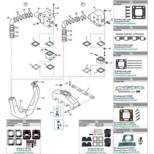 Mercruiser Manifolds, Elbows, Risers, End Caps & Gaskets 330 - 340MIE - 370TRS - 454EFI - 454MAG - 7.4MIE - 7.4L - 7.4LX GM454 CID V8 / 502 EFI - 502 MAG - 8.2L - GM502 CID V8